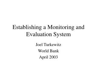Establishing a Monitoring and Evaluation System