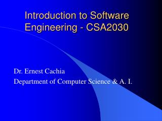 Introduction to Software Engineering - CSA2030