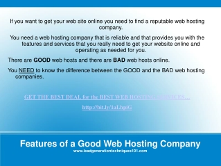 Features of a Good Web Hosting Company