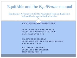 EquitAble and the EquiFrame manual  EquiFrame: A Framework for the Analysis of Human Rights and Vulnerable Groups in Hea