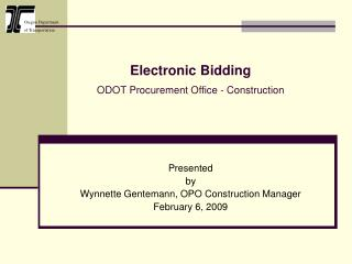 Electronic Bidding   ODOT Procurement Office - Construction