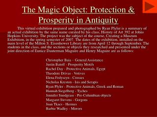 The Magic Object: Protection  Prosperity in Antiquity
