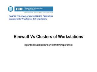 Beowulf Vs Clusters of Workstations