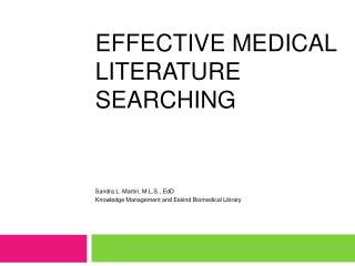 Effective Medical Literature Searching