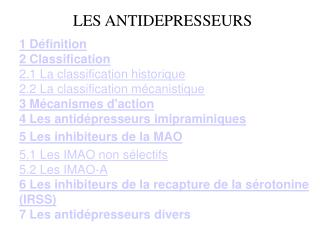 LES ANTIDEPRESSEURS