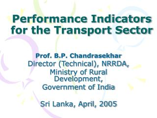 Performance Indicators for the Transport Sector