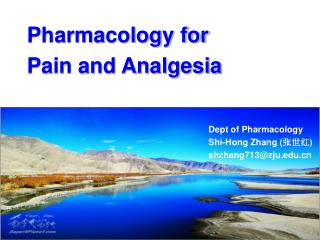 Pharmacology for  Pain and Analgesia