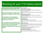 Revising for your Y10 history exams