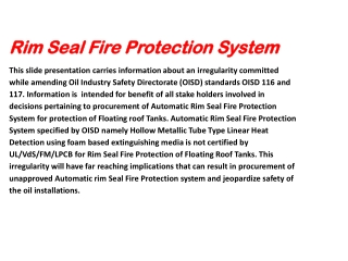 RIM SEAL FIRE PROTECTION FRAUD