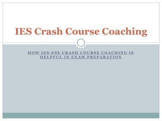 IES Crash Course Coaching