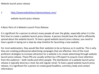 Website launch press release