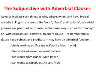The Subjunctive with Adverbial Clauses