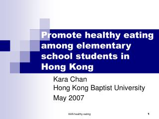Promote healthy eating among elementary school students in Hong Kong