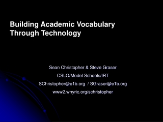 building academic vocabulary