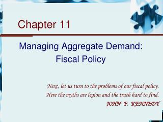 Managing Aggregate Demand: Fiscal Policy