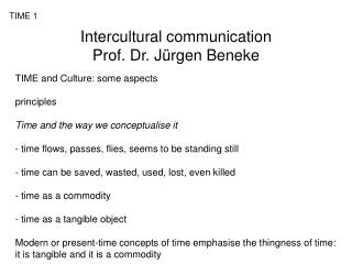 Intercultural communication Prof. Dr. J rgen Beneke