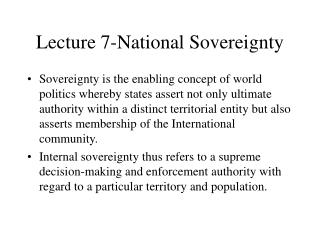 Lecture 7-National Sovereignty