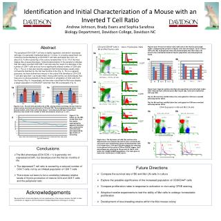 Identification and Initial Characterization of a Mouse with an Inverted T Cell Ratio Andrew Johnson, Brady Evans and Sop