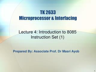 TK 2633 Microprocessor  Interfacing