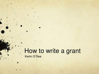 How to write a grant