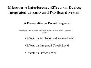 Effects on PC-Board and System Level  Effects on Integrated Circuit Level  Effects on Device Level