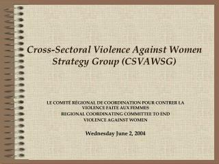 Cross-Sectoral Violence Against Women Strategy Group CSVAWSG