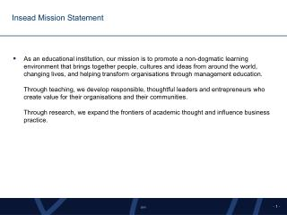 Insead Mission Statement