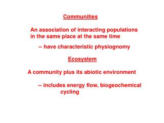 Communities   An association of interacting populations in the same place at the same time