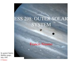 ESS 298: OUTER SOLAR SYSTEM
