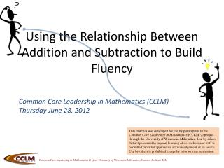 Using the Relationship Between Addition and Subtraction to Build Fluency
