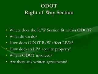 odot  right of way section