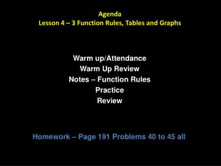 Agenda Lesson 4   3 Function Rules, Tables and Graphs