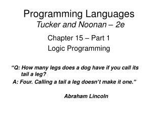 Programming Languages  Tucker and Noonan   2e