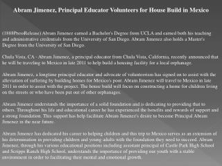 abram jimenez, principal educator volunteers for house build