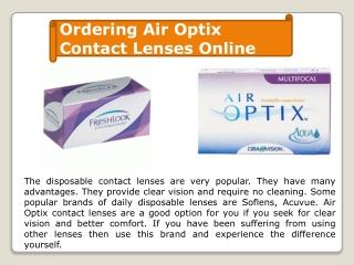 Ordering Airoptix contact lens