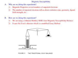 Magnetic Susceptibility Why are we doing this experiment Magnetic Properties reveal numbers of unpaired electrons The nu