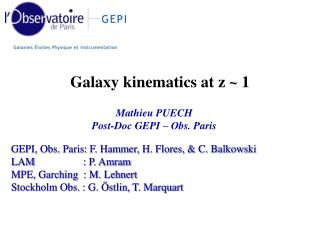GEPI, Obs. Paris: F. Hammer, H. Flores,  C. Balkowski LAM     : P. Amram MPE, Garching  : M. Lehnert Stockholm Obs. : G.