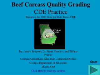 Beef Carcass Quality Grading CDE Practice Based on the 2003 Georgia State Meats CDE