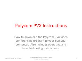 Polycom PVX Instructions