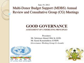 Multi-Donor Budget Support MDBS Annual Review and Consultative Group CG Meetings