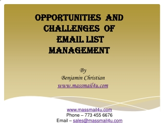 Opportunities  and challenges  of email list management