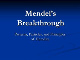 Mendel s Breakthrough