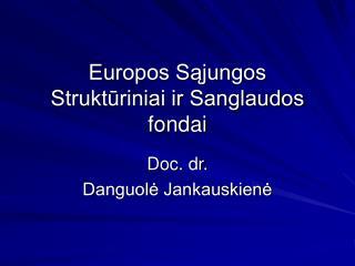 Europos Sajungos  Strukturiniai ir Sanglaudos  fondai