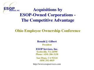 acquisitions by  esop-owned corporations - the competitive advantage   ohio employee ownership conference
