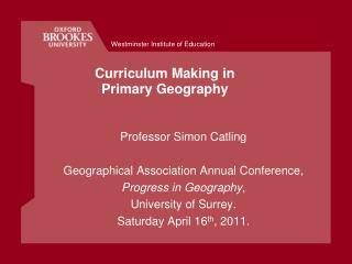 Curriculum Making in Primary Geography
