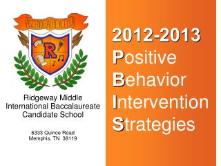 2012-2013   Positive  Behavior  Intervention  Strategies