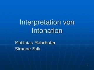 Interpretation von Intonation