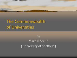 The Commonwealth of Universities