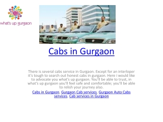 Cabs in Gurgaon