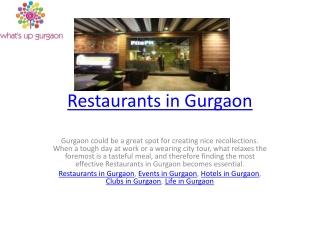 Restaurants in Gurgaon
